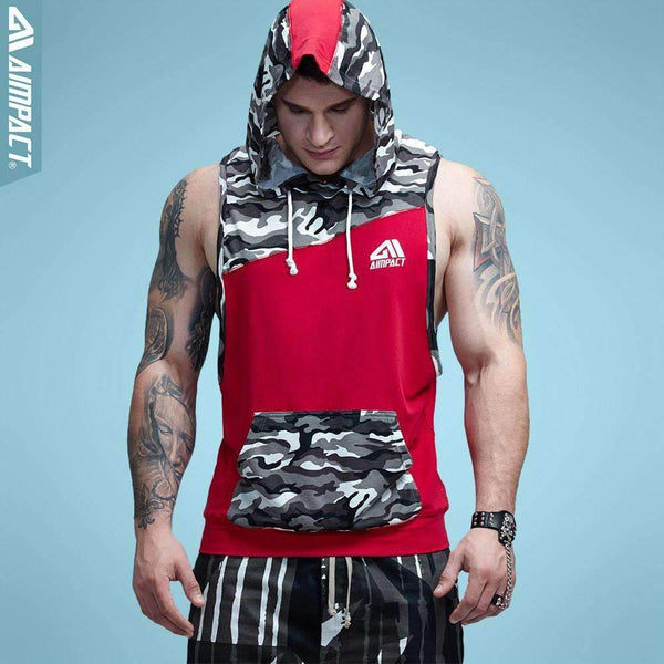 Aimpact Men's Camouflage Patchwork Sleeveless Hoodie Tank Top For Bodybuilding