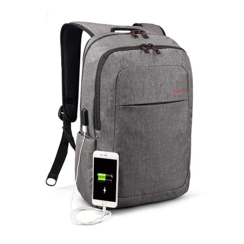 Waterproof Canvas Men's Backpack Bag - 14.1 Inch Laptop and Mobile Phone Charging