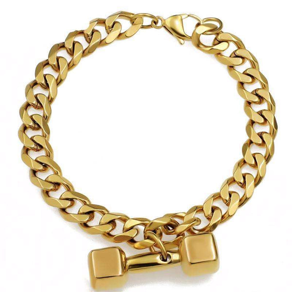 Cuban Link Dumbbell Stainless Steel Bracelet - Gold/Silver