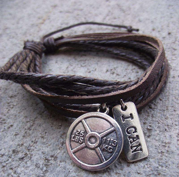 I CAN and Weightplate Leather Bracelet