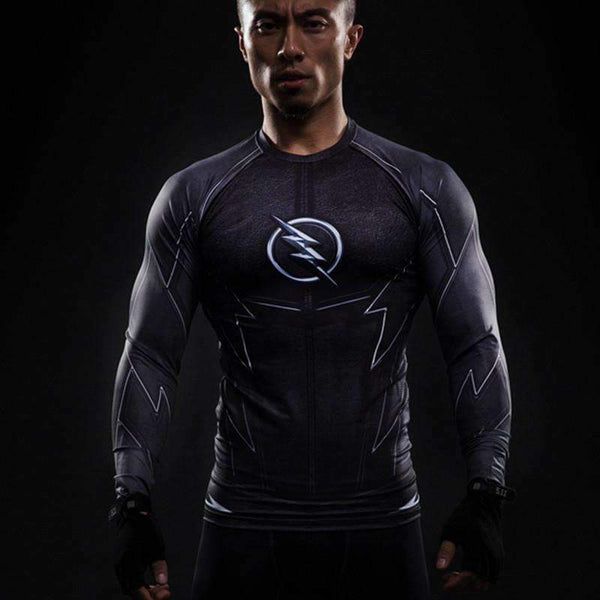 3D Printed Black Flash Superhero Full Sleeve Compression Wear for Fitness