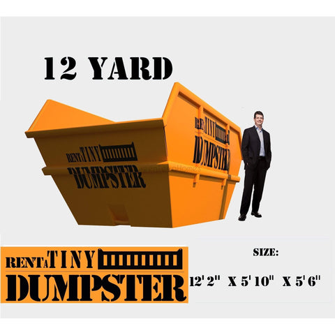 PORTABLE Roll-off Container 12-yard Dumpster Roll off Dumpster for trash Construction Waste Bin-GreenTerraHomes