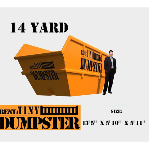PORTABLE Roll-off Container 14-yard Dumpster Roll off Dumpster for trash Construction Waste Bin-GreenTerraHomes