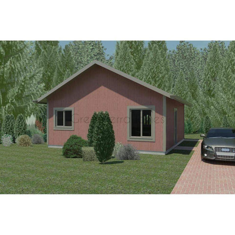 Prefab homes kit home 1br 1ba 576 sq ft eaton 24x24 modern for Mobile home garage kits