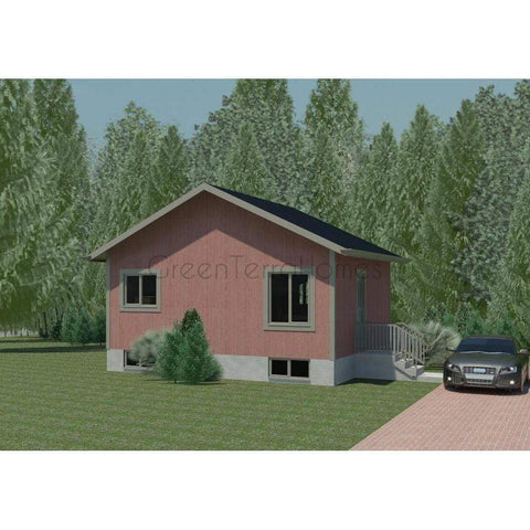 Prefab Homes Kit Home 2BR 1BA 960 sq ft PEYTON 24x40 Modern House Kits-Prefab Homes - Framing Kit-BryanBaeumler-GreenTerraHomes