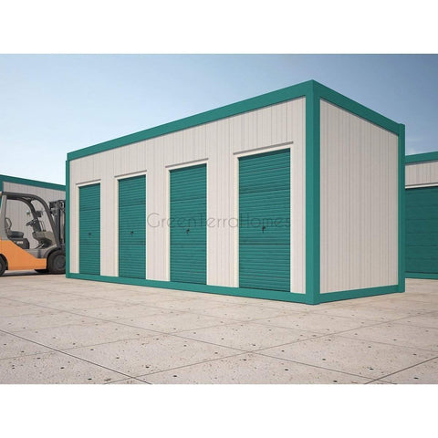 SELF STORAGE POD 8X22 FOUR (4) BAY STEEL STORAGE BUILDINGS - SHIPPING CONTAINER-GreenTerraHomes