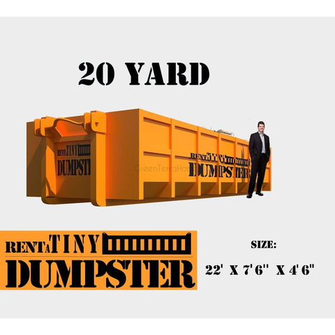 PORTABLE Roll-off Container 20-yard Dumpster Roll off Dumpster for trash Construction Waste Bin-GreenTerraHomes