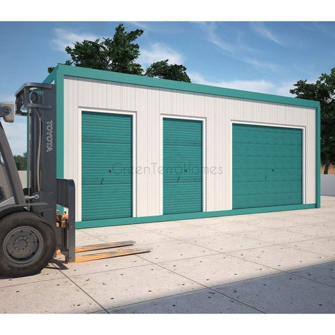 SELF STORAGE POD 8X22 THREE (3) BAY STEEL STORAGE BUILDINGS - SHIPPING CONTAINER-GreenTerraHomes