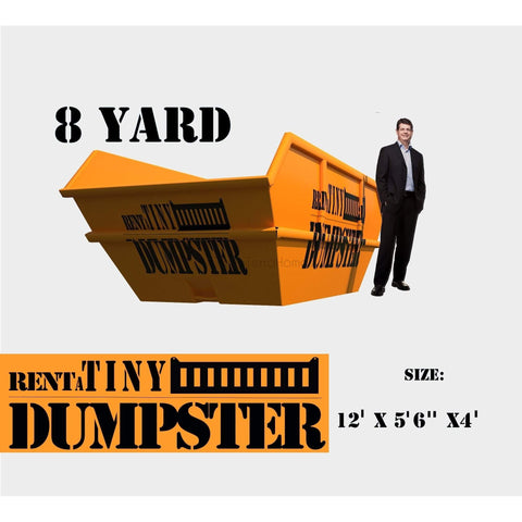 PORTABLE Roll-off Container 8-yard Dumpster Roll off Dumpster for trash Construction Waste Bin-GreenTerraHomes