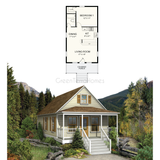 PREFAB COTTAGE KIT 1BR 1BA 576SF THE WARBURTON NS1838 PREFAB KIT COTTAGE-GreenTerraHomes