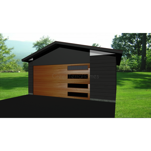 STEEL GARAGE, CAR GARAGE, GARAGE KIT - MODERN 1 CAR 20'x20' 400sf-GreenTerraHomes