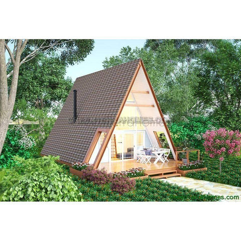 MODULAR HOME A-FRAME 2BR 1BA 432SF +144SF LOFT THE DENVER 18X24 MODERN MODULAR HOUSE-GreenTerraHomes