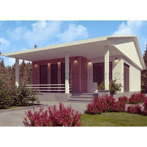 MODULAR HOME 2BR 1BA 980SF THE LANDHAUS MODERN MODULAR HOUSE-GreenTerraHomes