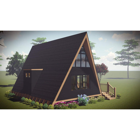 PREFAB HOME KIT A-FRAME HOME 2BR 1BA 600SF +150SF LOFT THE POLAR 20X30 AFRAME-GreenTerraHomes