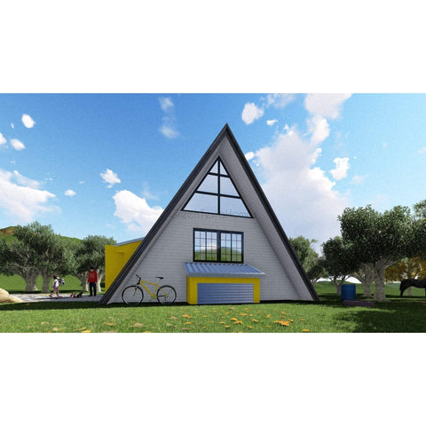 SHELL HOME PACKAGE A-FRAME 2BR 1BA 420SF +120SF LOFT THE ASPEN 14X30 MODULAR AFRAME-GreenTerraHomes