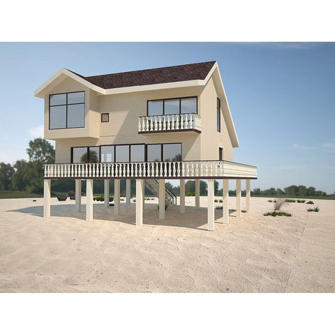 PREFAB BEACH HOME KIT 3BR 3BA 1608SF THE SANTA MONICA COASTAL HOUSE
