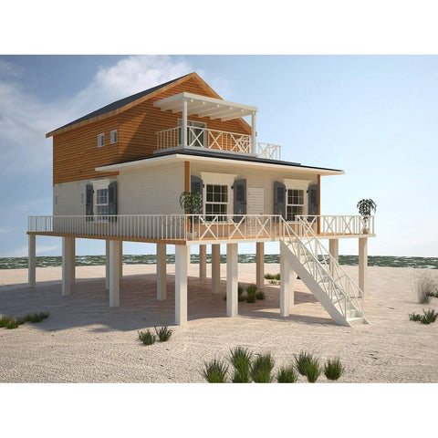 MODULAR BEACH HOME 3BR 3BA 1092sf THE HATTERAS COASTAL HOUSE-GreenTerraHomes