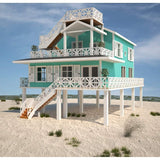 SHELL PACKAGE BEACH HOME 3BR 3BA 1890sf THE DAYTONA COASTAL HOUSE-GreenTerraHomes