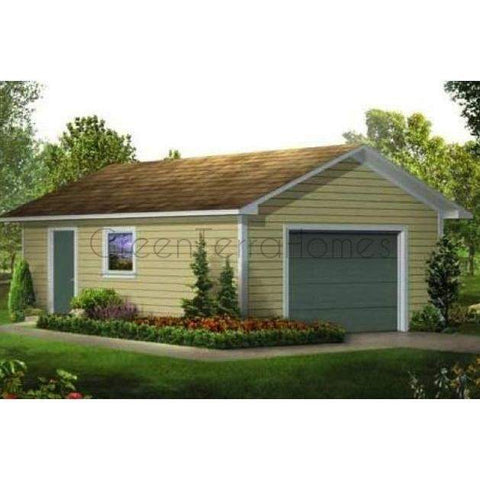 STEEL GARAGE, CAR GARAGE, GARAGE KIT - CLASSIC 1 CAR 16'x24' 384sf-GreenTerraHomes