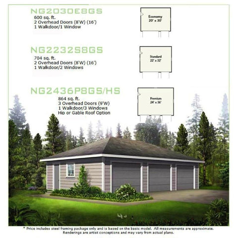 GreenTerraHomes STEEL 3 CAR GARAGE 24\'x36\' 864SF METAL GARAGE KIT