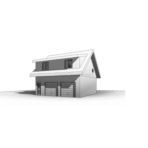 Prefab garage home kit 1br 1ba 650sf 650sf 2 car garage for Modular carriage house garage
