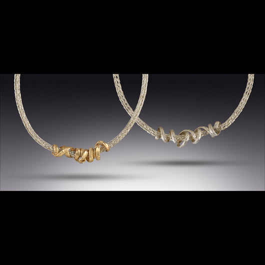 Silver and gold worm necklace or gold with silver worm