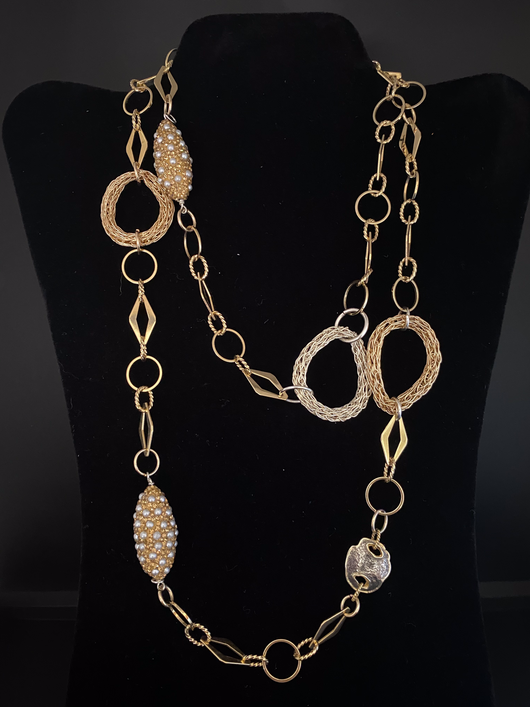 long chain  gold/silver circle knit necklace