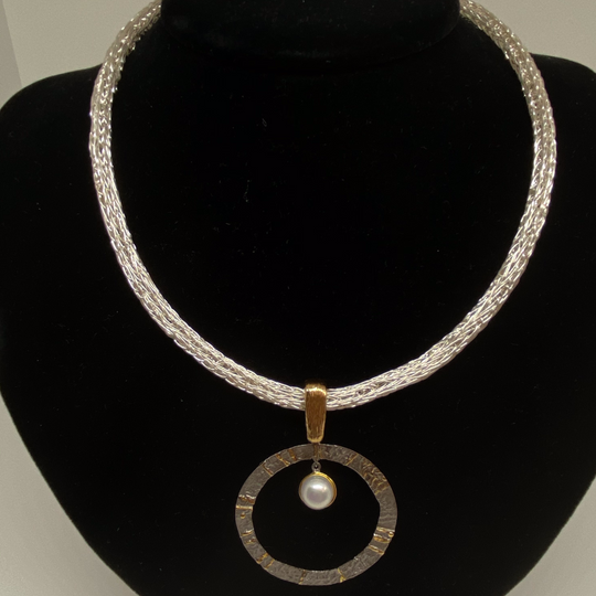 silver with pearl inside pendant necklace