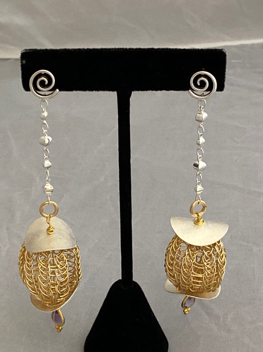 long gold bauble earring