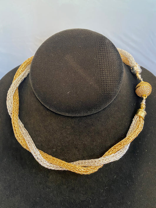 Twisted gold and silver necklace