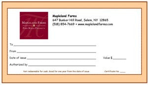 Mapleland Farms Gift Certificate front view