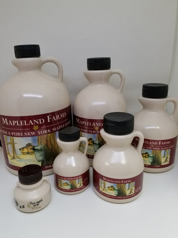 Mapleland Farm Maple Syrup Sizes Available