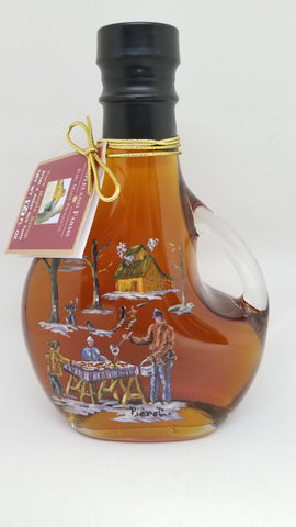 Mapleland Farms Maple Syrup in a bottle with artistic scene