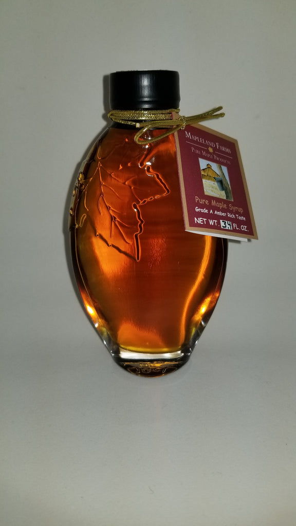 Mapleland Farms Maple Syrup in Leaf Embossed Bottle Small View