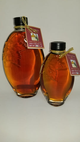 Mapleland Farms Maple Syrup in Leaf Embossed Bottle Large and Small View