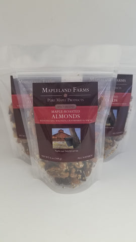 Spicy Maple Almond Snack Mix with Pecans, Walnuts, Cranberries, and Spices front package view