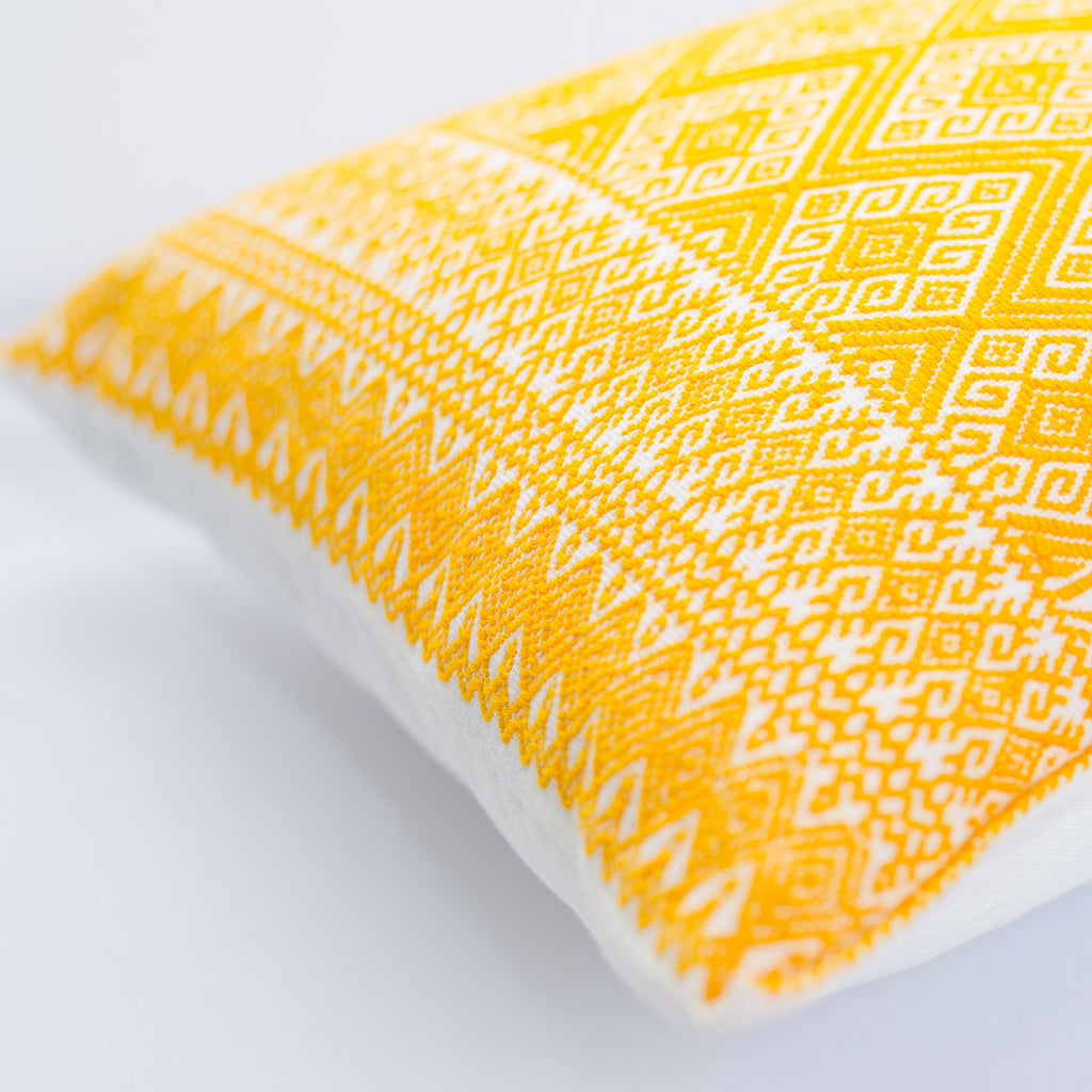 Cardinal points cushion cover - yellow