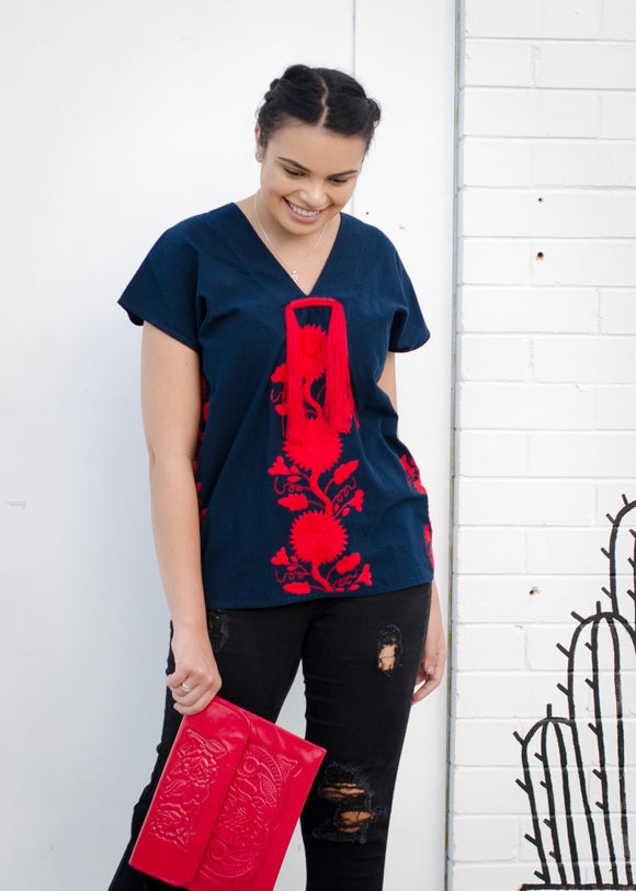 Festival Fringe blouse (red/navy)
