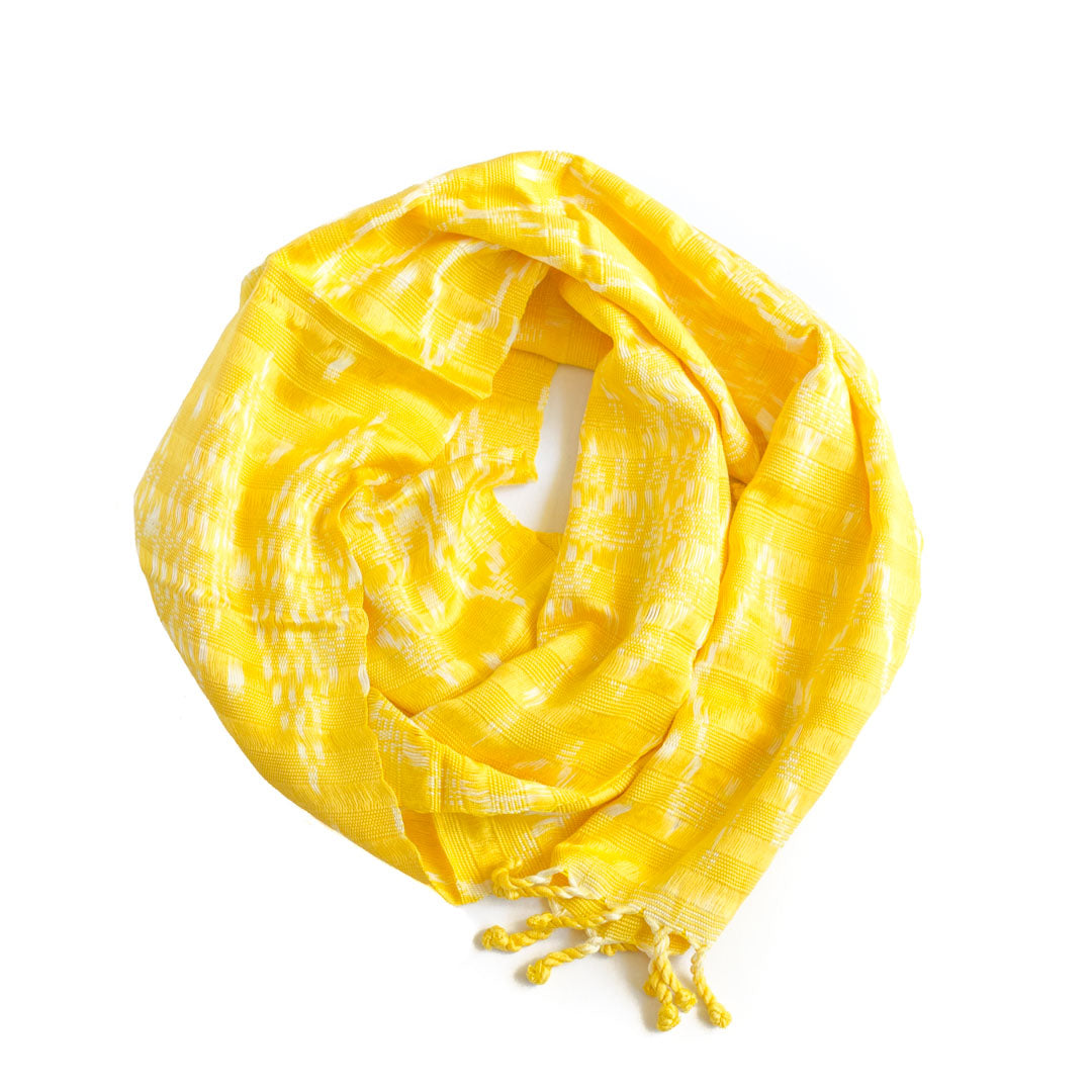 Ikat silk scarf - Yellow