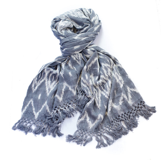 Ikat cotton shawl/scarf - grey