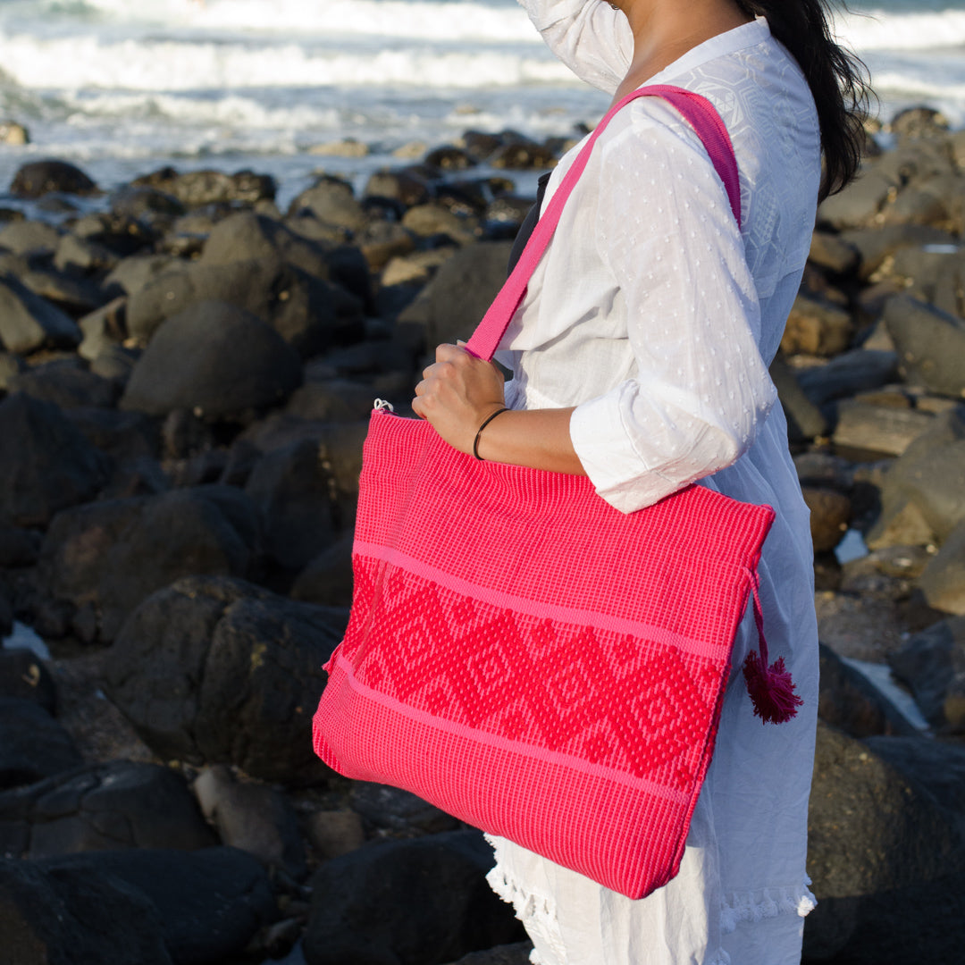 La Rosa Cotton Beach Bag
