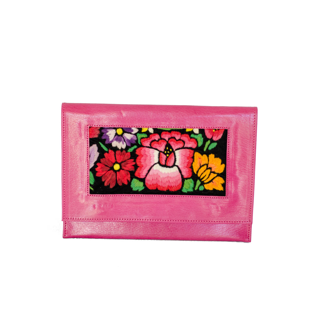 Las Flores Leather Clutch