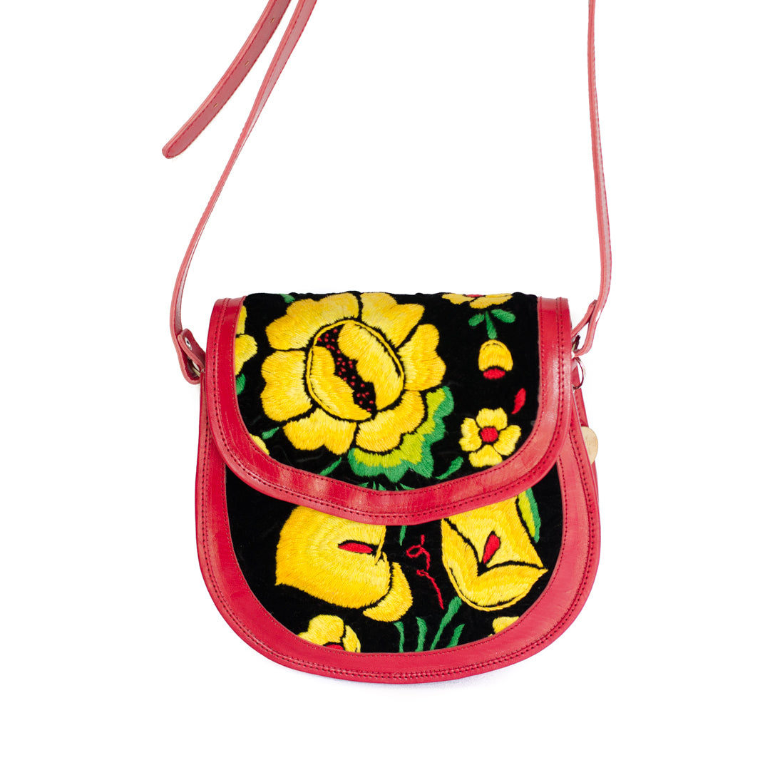Las Flores leather crossbody bag