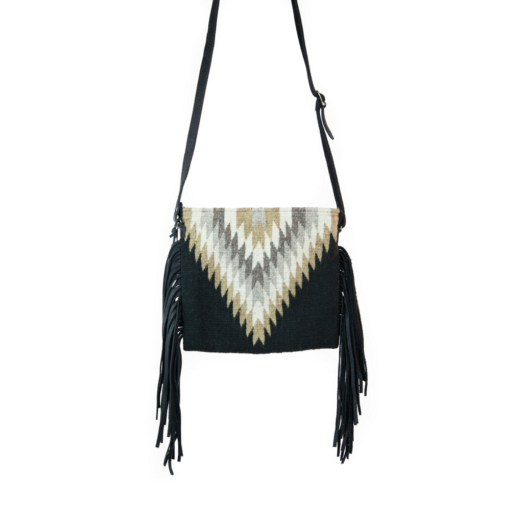 Golden Diamond Fringe Wool Bag