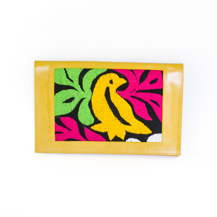 Leather Clutch Pajaro Design