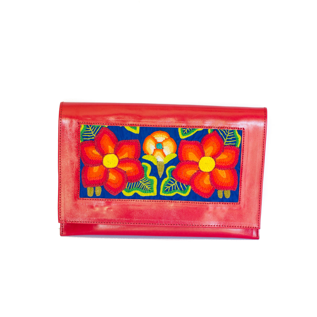 Las Flores red Leather Clutch