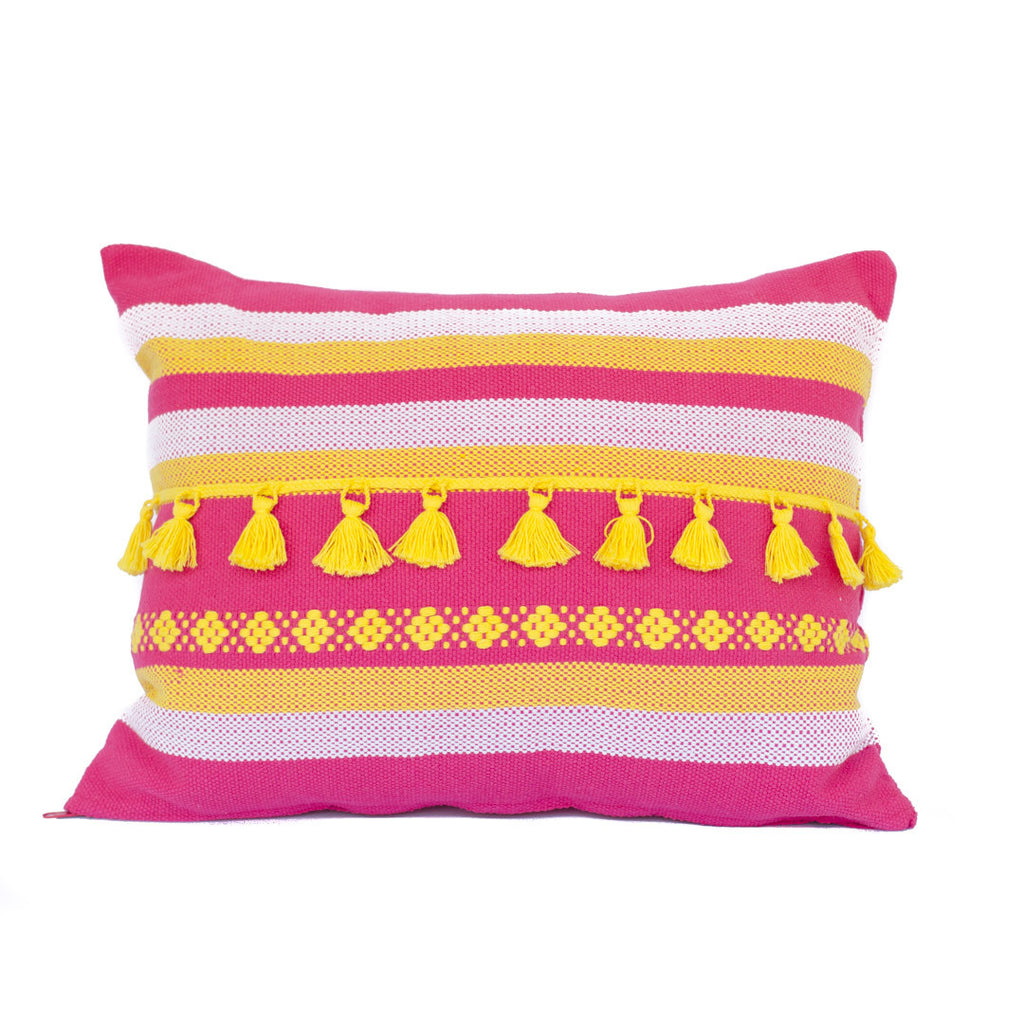 Yellow tassle cushion - one only