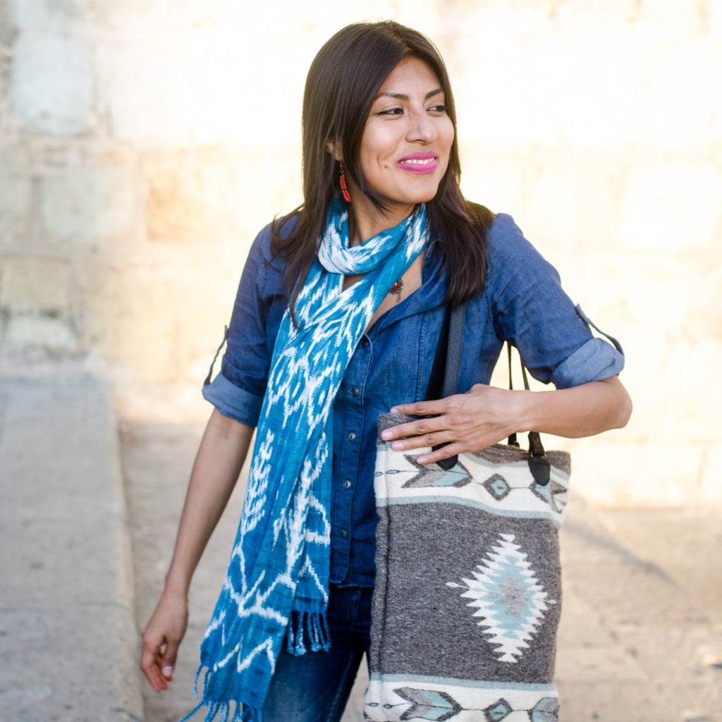 Ikat cotton scarf - teal