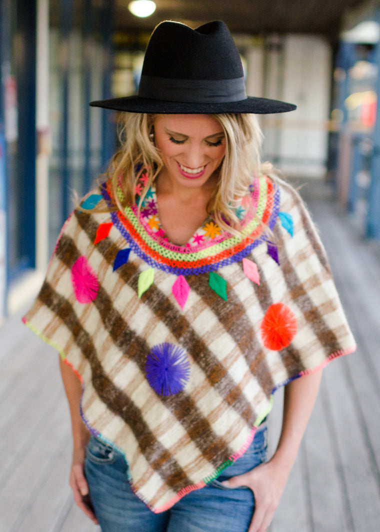 Women's wool poncho