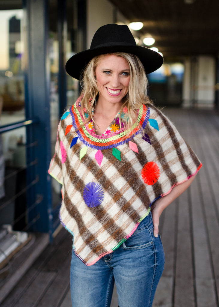 Hand embroidered wool poncho